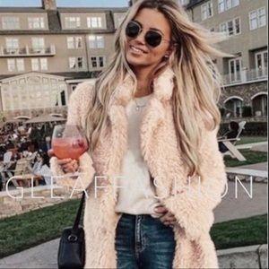 Jackets & Blazers - Blush Shaggy Fur Coat